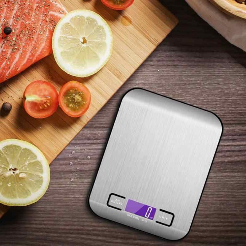 Kitchen Cooking Food Digital LCD Stainless Steel 5KG Electronic Weighing Scale