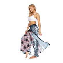 Женские широкие брюки с высокой талией и принтом летние свободные