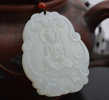 Hand-carved 100% Natural Chinese Hetian White Jade Pendant - Guanyin Kwan-yin Buddha Statue Small Gift natural green hand carved chinese hetian stone guanyin pendant rope necklace