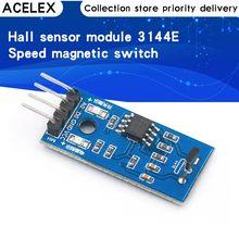 Módulo de sensores de pasillo para coche inteligente Arduino, 3144E, 4 pines, velocidad, módulo magnético, Sensor de conteo de velocidad