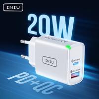 INIU PD 20W USB C Ladegerät QC 3,0 2 Port LED Schnelle Handy Kostenlos Wand Adapter Für iPhone 12 11 AirPods iPad Huawei Xiaomi Samsung