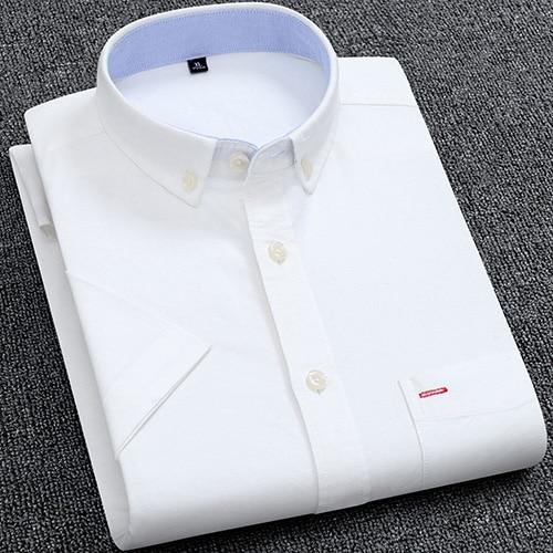 Men's Summer Pure Cotton Oxford Shirts Casual Slim Fit Design Short Sleeve Fashion Male Blouse Shirt 8