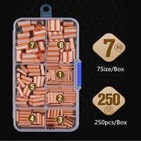 250 PCS/7 sizeCopper anschluss rohr draht gemeinsame kleine kupfer rohr zwischen joint direkte verbindung druck rohr kalt gepresst
