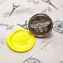 Selo de cera de wyse selo de abelha selo de cera selo de metal alça de madeira para diy decoração de casamento cartão de convite