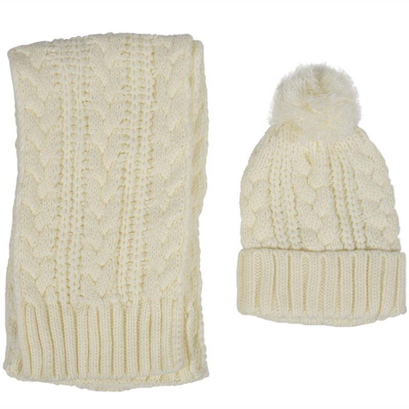 Women's Winter Cap Knit Scarf Set White