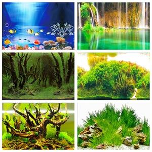 Image 1 - Pôster de fundo de aquário, fundo dupla face de pvc para decoração de parede de tanque de peixes 30/40/50cm (altura)