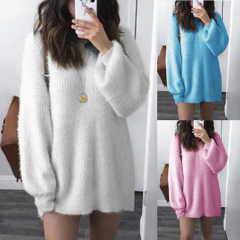 Sweater Women Solid O-neck Loose Knitted Warm Long Latern Sleeve Blouse Loose Pullover Jumper Tops Sweaters Sleepwear d3 image
