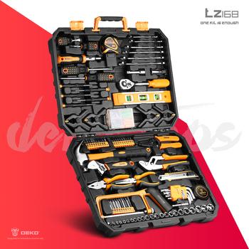 DEKO-Skrzynka z zestawem narzędzi ręcznych niezbędnik złotej rączki komplet przyrządów do domowych prac remontowych w plastikowym futerale zawiera klucze nasadowe śrubokręty nóż i wiele innych elementów tanie i dobre opinie Woodworking Hammers Pliers Knives Combination Wrenches Ratchet Sockets Screwdrivers Saws Drills CN (pochodzenie) TZ168 Household Tool Set