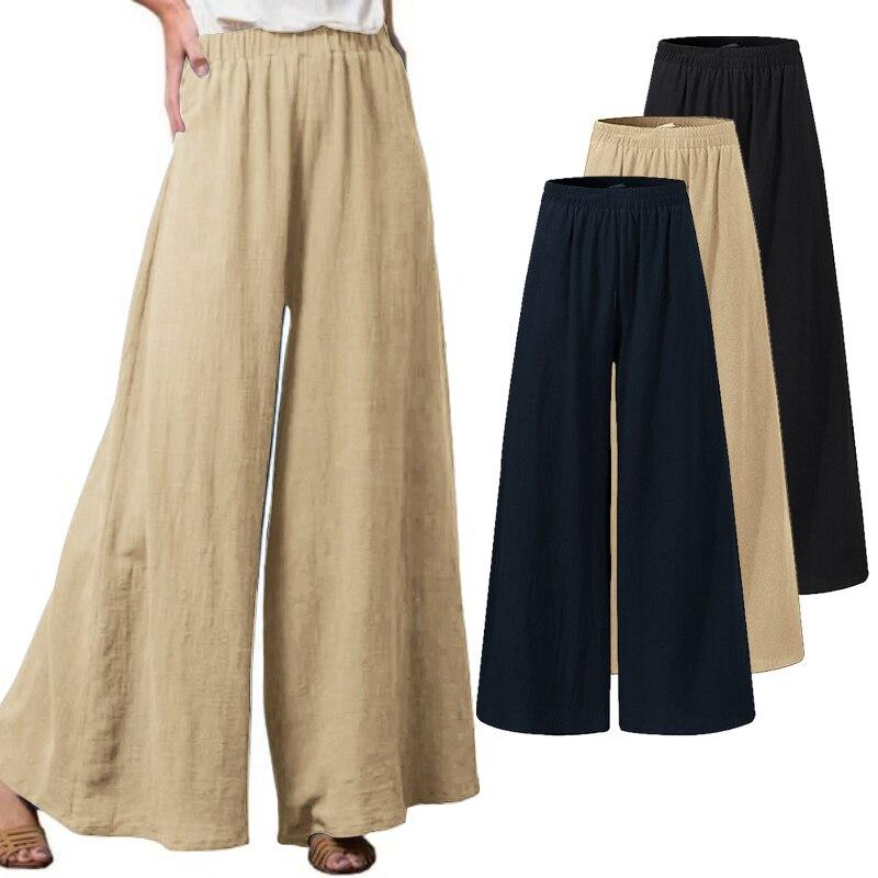 Plus Size Women's Summer Trousers ZANZEA 2021 Kaftan Cotton Wide Leg Pants Casual Elastic Waist Pantalon Female Solid Turnip