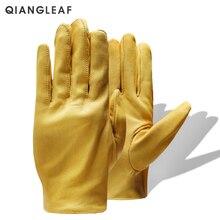 QIANGLEAF абсолютно новые желтые рабочие перчатки для водителей Садоводство Бытовая работа коровья кожа безопасные рабочие перчатки для мужчин и женщин 130NP