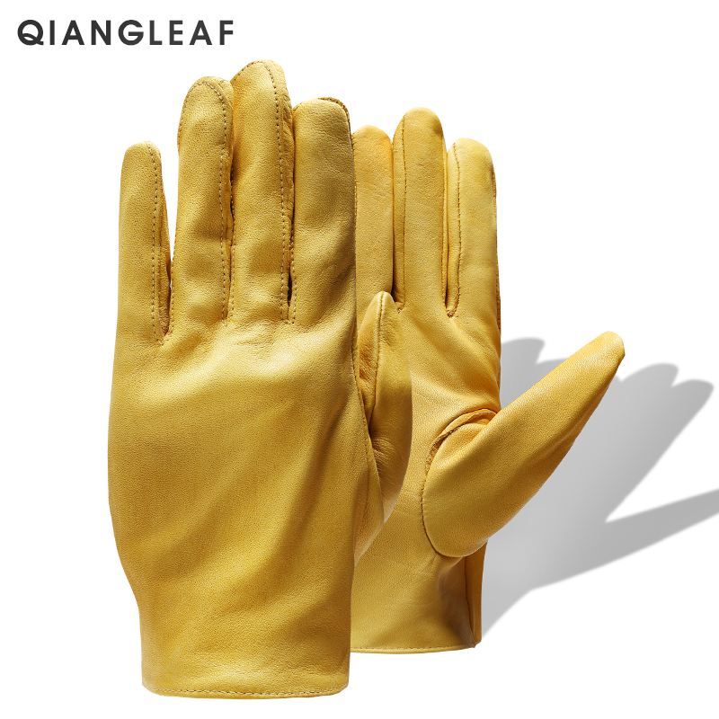 QIANGLEAF Brand New Yellow Work Drivers Gloves Gardening Household Work Cowhide Leather Safety Working Glove Men&Women 130NP-in Safety Gloves from Security & Protection