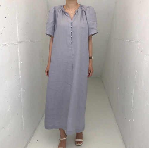 Новое летнее платье больших размеров вечерние женские винтажные платья Кнопка короткий рукав женские платья длинная рубашка халат в стиле бохо Vestido