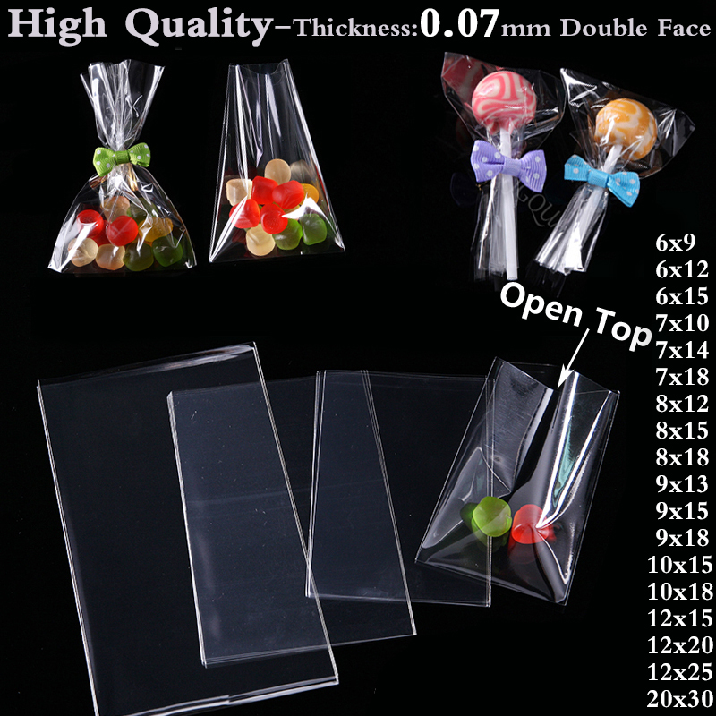 Clear Poly OPP Plastic Bag Cookies Candy Jewelry Packaging Bags Christmas Wedding Birthday Party Packing Small Gift Bags Pouch