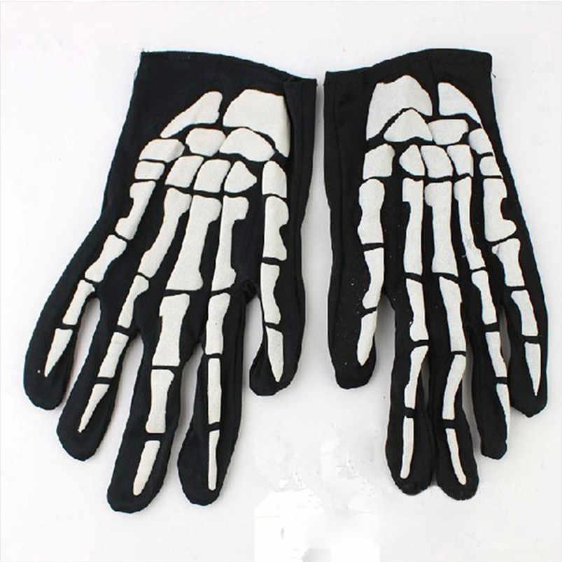 1 çift cadılar bayramı korku kafatası pençe kemik İskeleti Goth yarış tam eldiven bisiklet yürüyüş ekipmanları açık eldiven 909