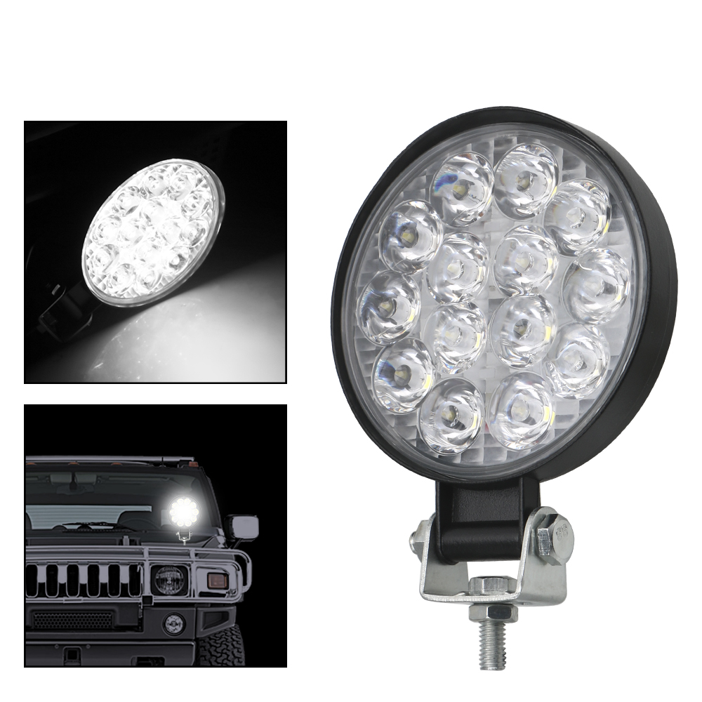 LEEPEE Super Bright 42W LED Work Light Round LED Light Bar For Truck Tractor 4x4 Off Road Driving Light Spot Beam
