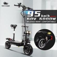 Halo Knight Бесплатная доставка, 60 В, 6000 Вт, Электрический скутер 95 км/ч, внедорожник, 11 дюймов, складные самокаты, двойной мотор, мотоцикл для взро...