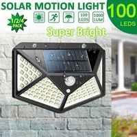 100 luzes solares led ao ar livre ip65 à prova dwireless água sem fio sensor de movimento luzes 270°wide anglesurance parede com 3 modos
