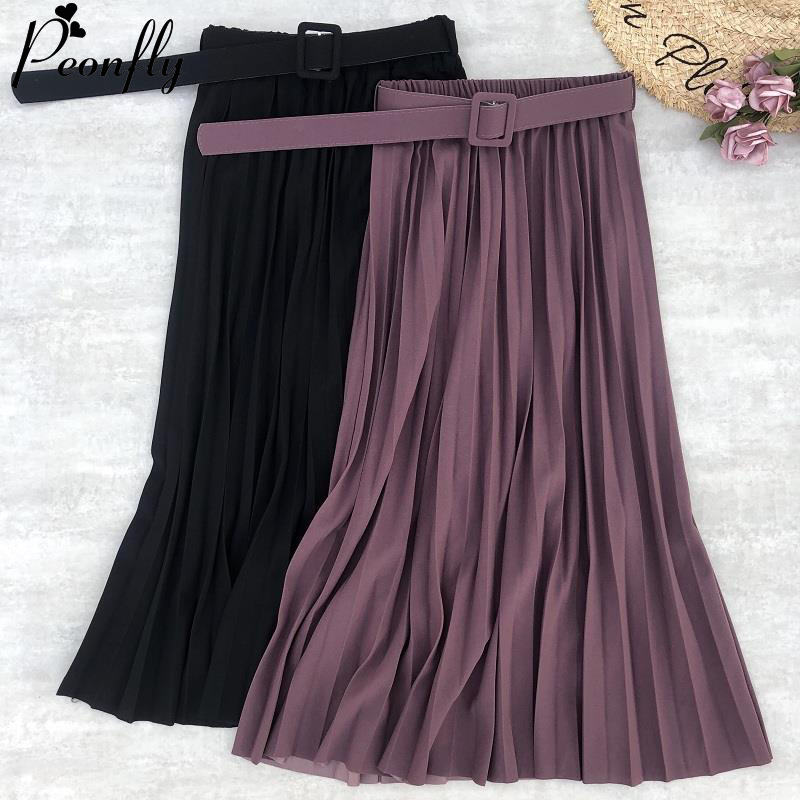 PEONFLY New Women Fashion Belt Solid Color Pleated Midi Skirts Faldas Mujer Ladies Elegant High Waist Retro Casual Skirts