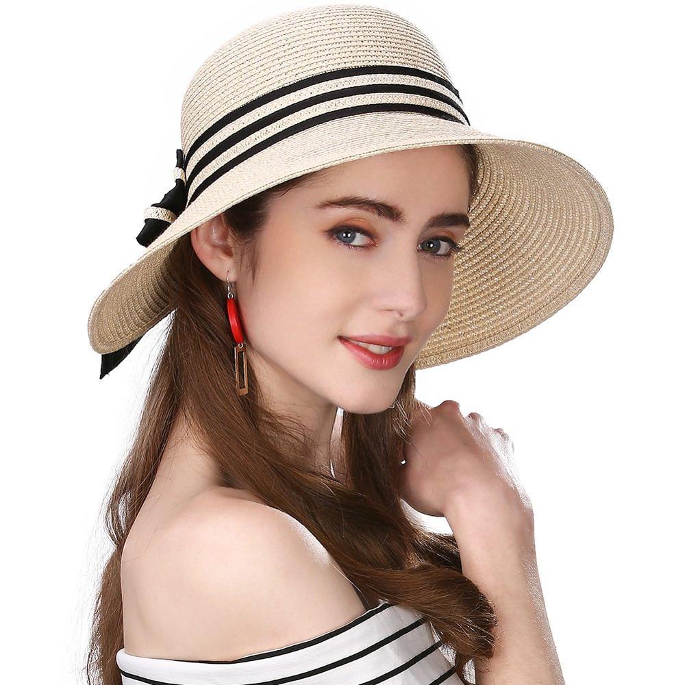 New Womens Floppy Summer Sun Beach Straw Hat UPF50 Foldable Wide Brim 55-60cm
