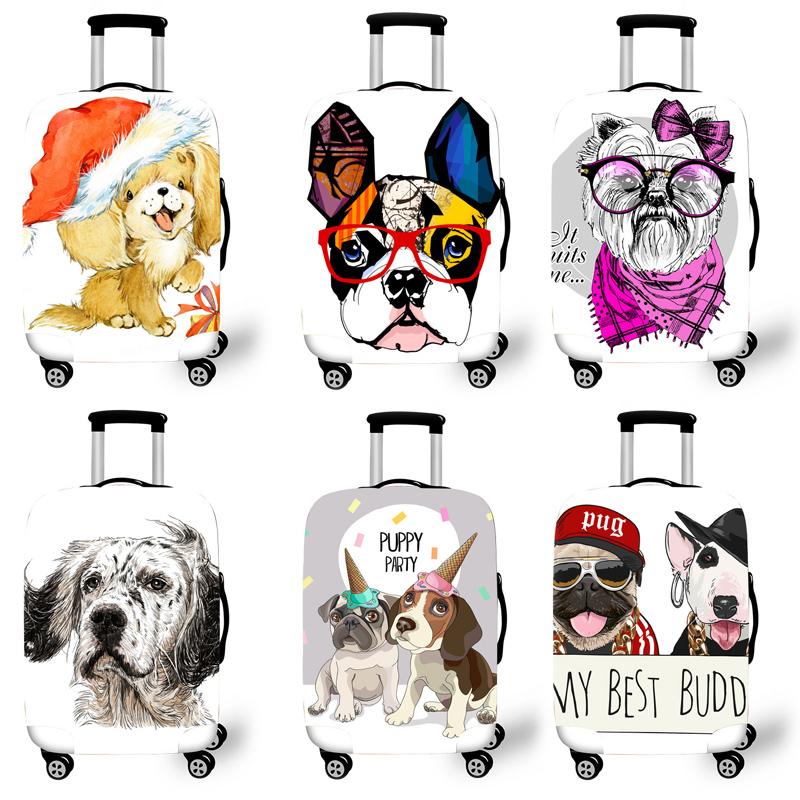 Elastic Luggage Protective Cover Case For Suitcase Protective Cover Trolley Cases Covers 3D Travel Accessories Dog Pattern T0120