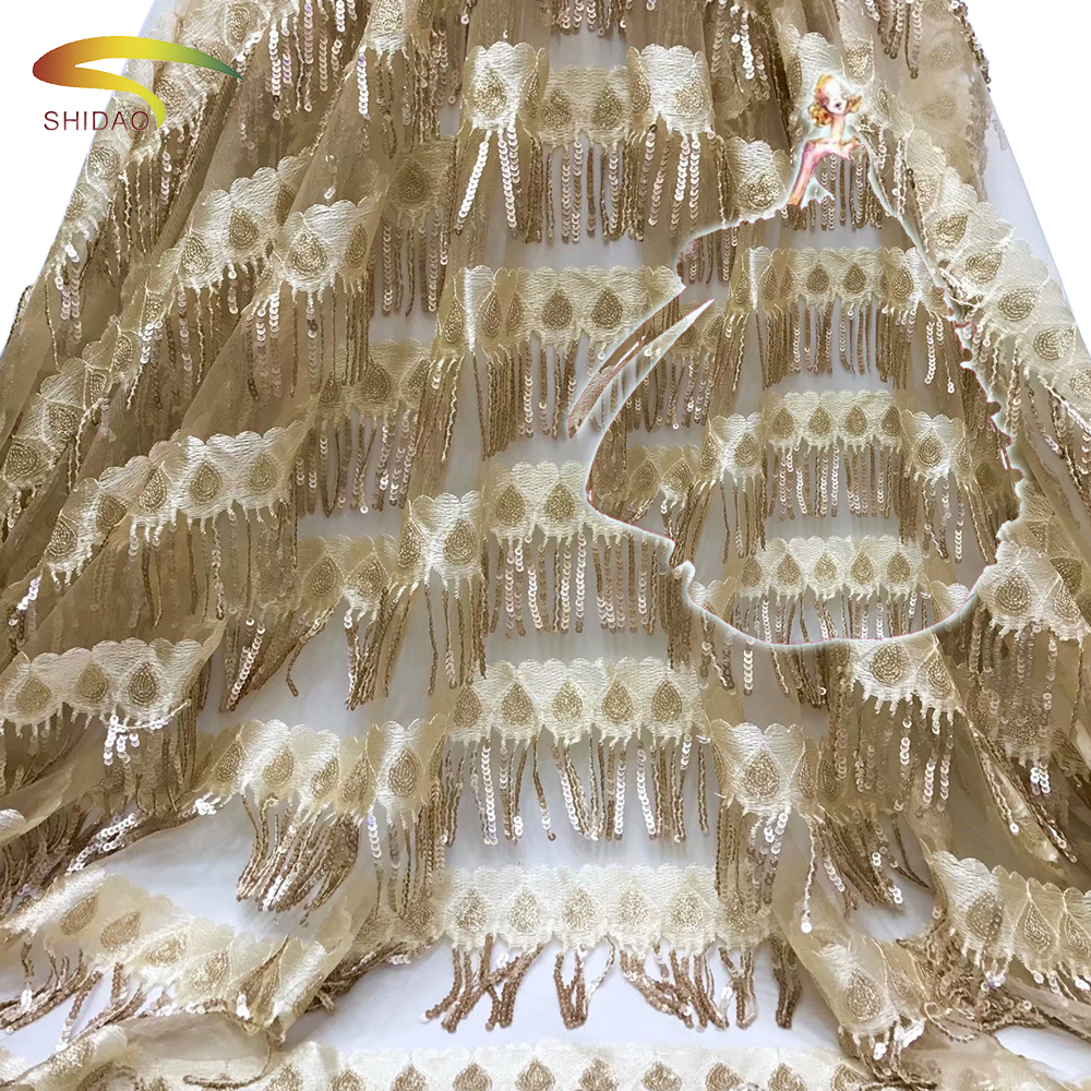 New Arrival African French Gold-Sequins Luxury Lace Fabric For Indian Wedding-Dress