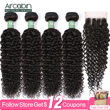 Curly-Wave-Bundles Closure Human-Hair-Extensions Aircabin-Hair Weave Brazilian with Remy
