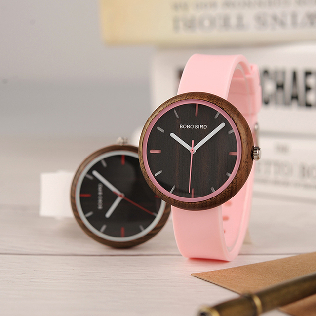 BOBO BIRD R28 relogio feminino Colorful Silicone Strap Womens Watches Quartz Wristwatches reloj mujer Women Watch Fashion Gifts