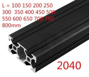 1PC BLACK 2040 European Standard Anodized Aluminum Profile Extrusion 100-800mm Length Linear Rail  for CNC 3D Printer cnc 3d printer parts 4pcs lot european standard anodized linear rail aluminum profile extrusion 3030 for diy 3d printer