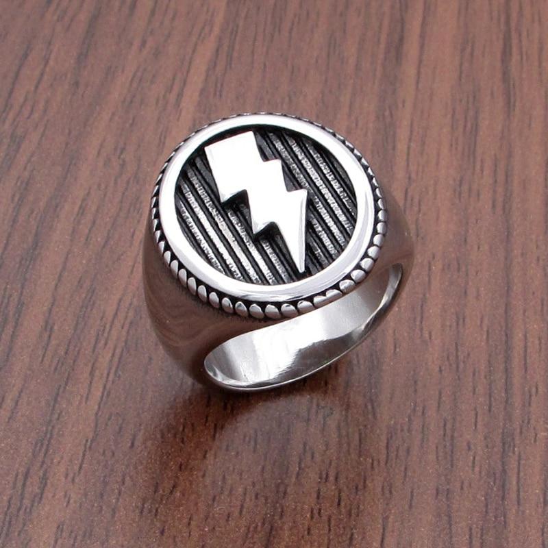Frete grátis punk relâmpago padrão 316l aço inoxidável geométrica anéis redondos grande largura masculino signet vintage anel