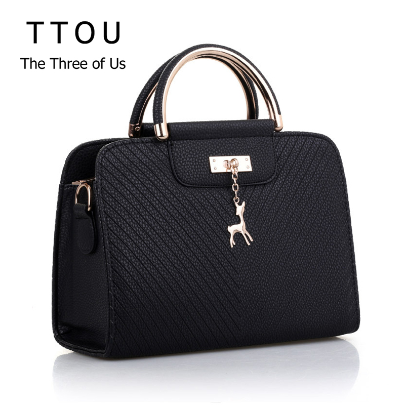 Fashion Deer Decor Large Capacity Basic Women Handbag Casual Tote Simple Ladies Office Messenger Bag PU Leather Female Briefcase