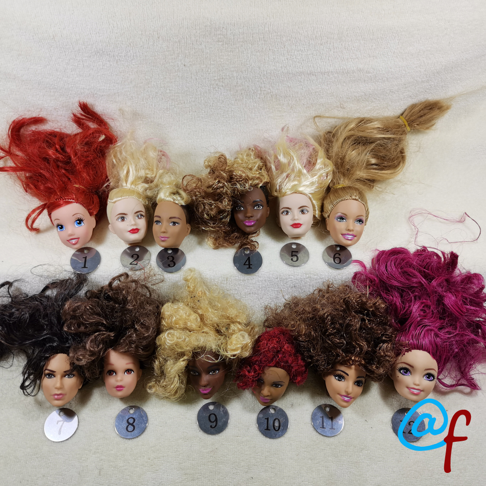 B14-1 Original Foreign Trade World Beauty 1/6 OOAK NUDE Doll Head Mussed Lost Hair For DIY  CarefulXXXXpurchase