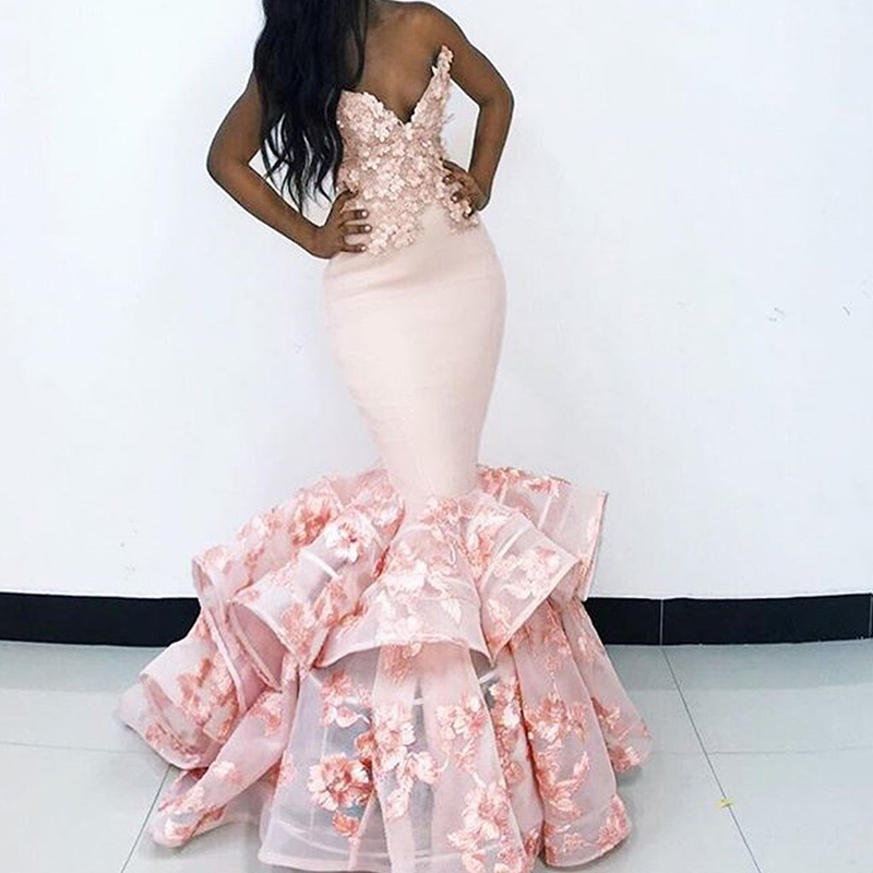 2020 New Arrival Mermaid Tulle Prom Dress Long Sexy V-neck Appliques Backless Party Evening Gowns Graduation Vestido De Festa