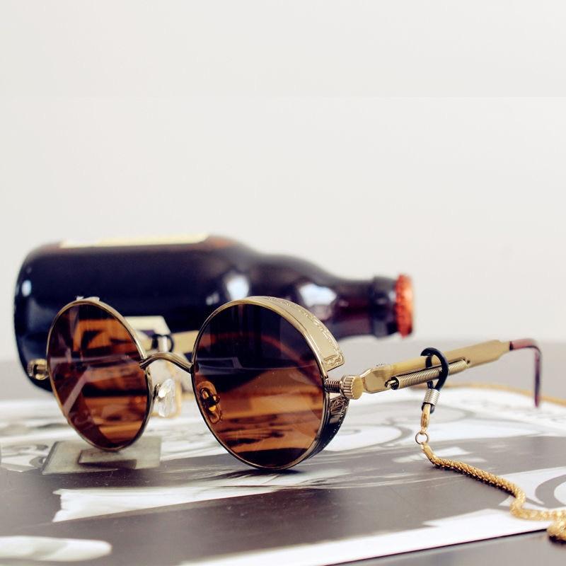 Солнцезащитные очки в стиле стимпанк для мужчин и женщин UV-400, Классические готические Роскошные брендовые дизайнерские очки в круглой мета...