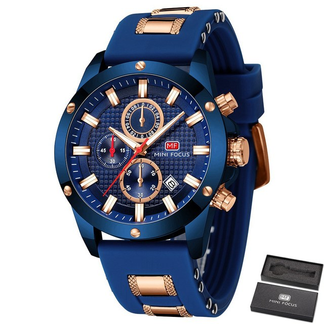 Minifocus moda masculina esporte relógios homem quartzo relógio analógico pulseira de silicone militar à prova dmilitary água relógio relogio masculino