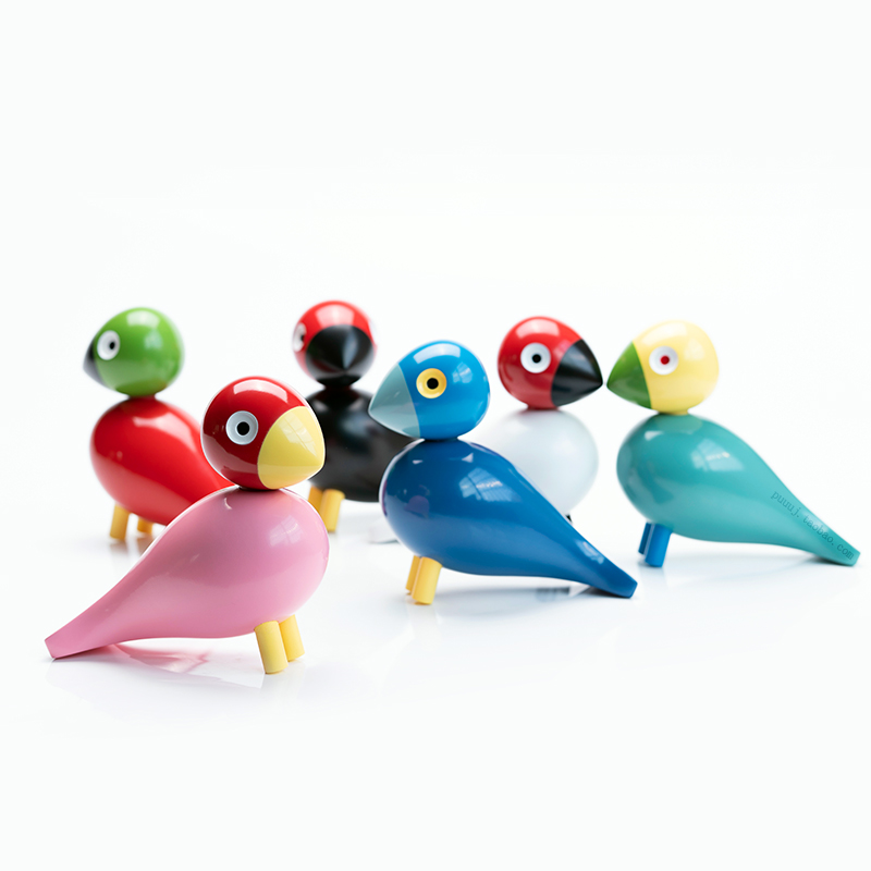 Handmade Bird Figurines Ornaments Colorful Painted Sculpture Animal Home Decoration Nordic Wood Carving Puppet Wooden Denmark