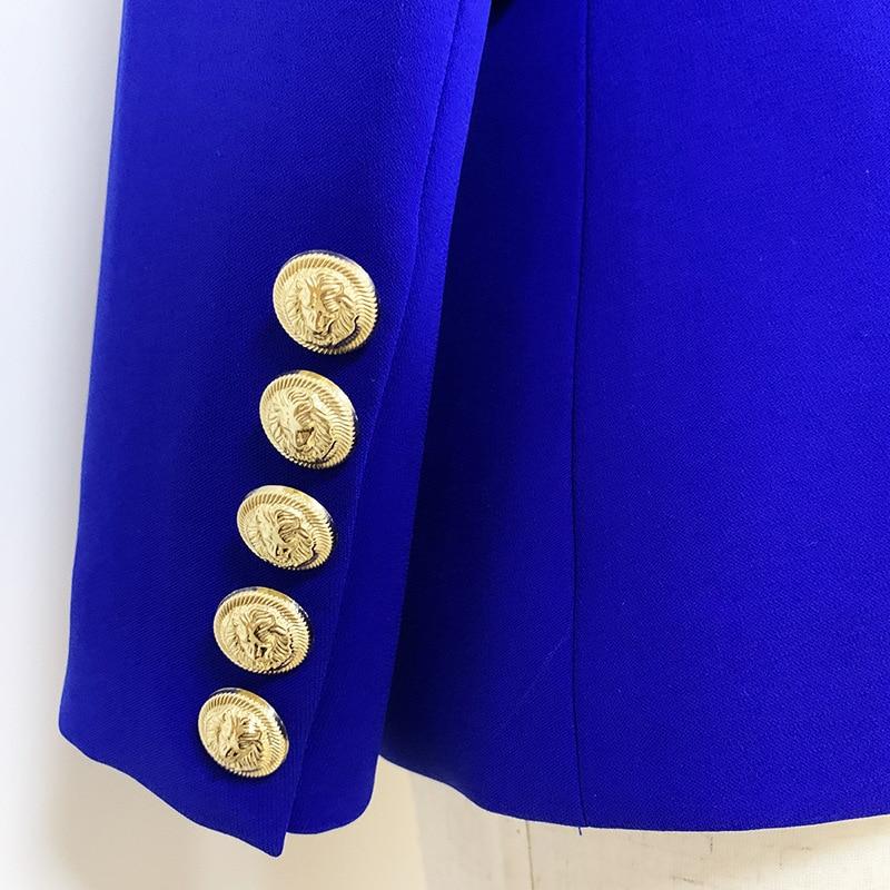 2020 Spring Autumn Slim Blazer Jacket Women Metal Button Double Breasted Solid Suit Coat Female Tops Office Lady Blazer Feminino
