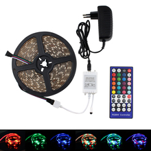 цена 5M/10M 5050 RGB LED Strip 12V SMD Flexible LED Strip Waterproof RGBW RGBWW Ledstrips Tape Light 40key Remote Controller 12V EU онлайн в 2017 году