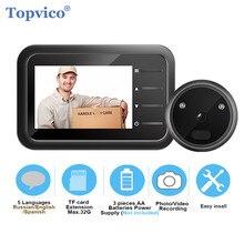 Topvico vídeo olho mágico campainha câmera de vídeo olho registro automático anel eletrônico visão noturna visor da porta digital entrada de segurança em casa