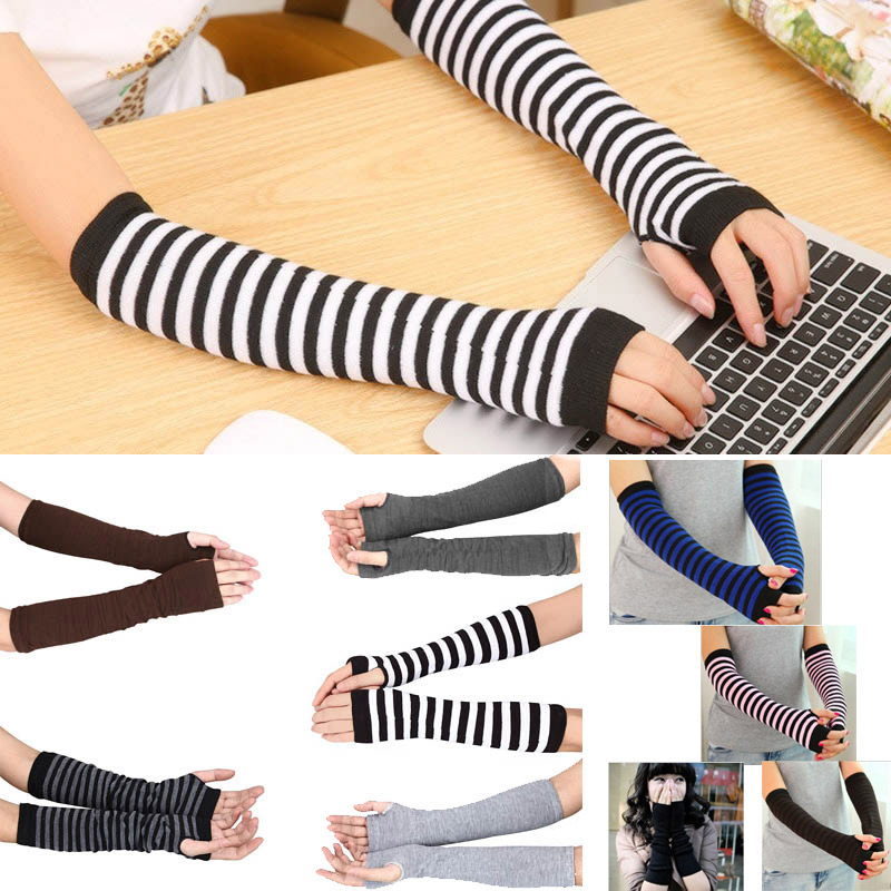 Lady Stretchy Soft Knitted Wrist Arm Warmer Long Sleeve Fingerless Gloves Striped O66