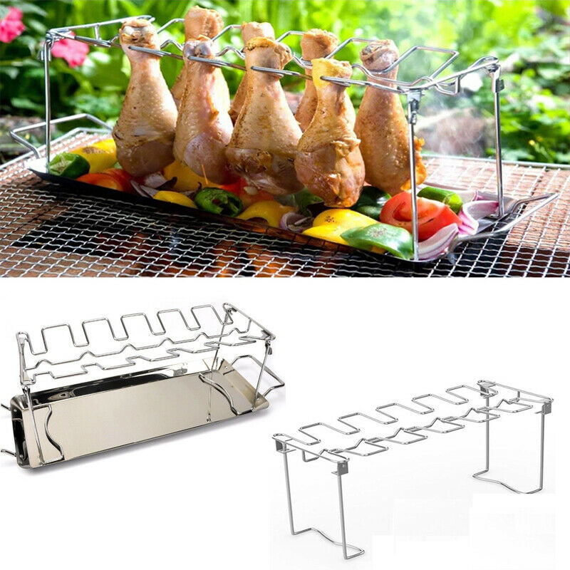 2020 Stainless steel Multi-Purpose 14 Slot Chicken Leg Wing Drumstick Rack Oven BBQ Grill Stainless BBQ Rack Grill Tray image