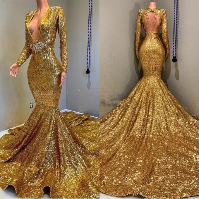 2019 Sexy Deep V Neck Gold Mermaid Prom Dresses Long Sleeve Open Back Sequined Formal Evening Gowns Prom Dress Sparkly Sequin