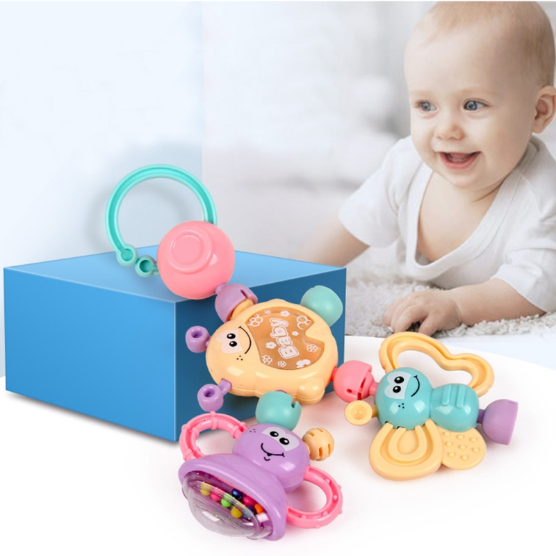 6pcs Baby Rattle Activity Ball Rattles Educational Toys For Babies Grasping Ball Puzzle Baby Toys 0-12 Months Climb Learning
