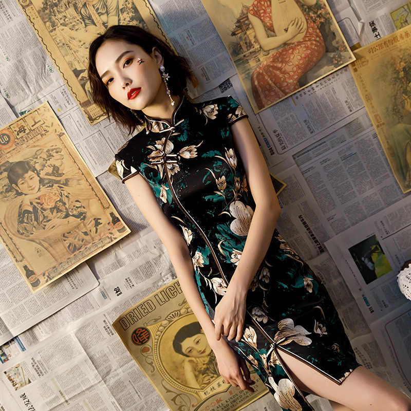 Black Sexy Modern Cheongsam Girl Oriental Elegant Dress Traditional Chinese Qipao Plus Size Women Clothing Party Dresses Casual