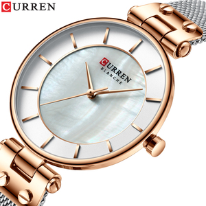 Image 2 - CURREN montre à Quartz Simple et créative en maille dacier pour femmes, nouvelle horloge, Bracelet pour dames