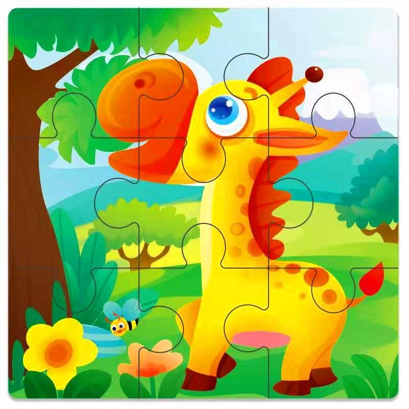 Мини Размер 11*11 см детская игрушка деревянная головоломка деревянная 3D головоломка для детей Детские Мультяшные животные/дорожные Пазлы обучающая игрушка - Цвет: Светло-зеленый
