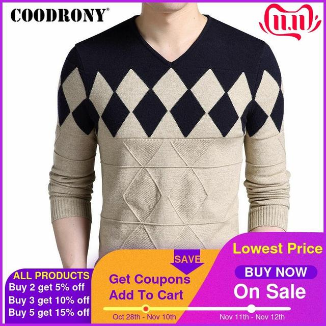 COODRONY Cashmere Wool Sweater Men 2020 Autumn Winter Slim Fit Pullovers Men Argyle Pattern V Neck Pull Homme Christmas Sweaters