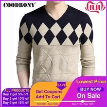 COODRONY suéter de lana de Cachemira para hombre, suéteres ajustados con estampado de Argyle y cuello en V, para otoño e invierno, 2020