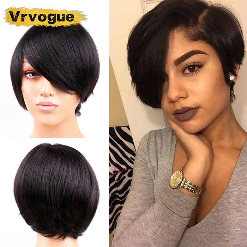 Short Human Hair Wigs For Black Women Perruque Pixie Cut Wig Brazilian Straight Hair Bob Wigs Non-Remy Vrvogue Machine