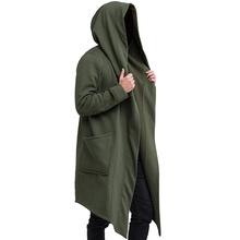 Zimowy płaszcz trencz mężczyźni jednolity kolor długi rękaw z kapturem cieplej sweter płaszcz męski Casual Men odzież znosić Plus rozmiar trencz tanie tanio CN (pochodzenie) NONE Poliester Gothic Stałe long Konwencjonalne men trench coat Otwórz stitch Pełna REGULAR Luźne STANDARD