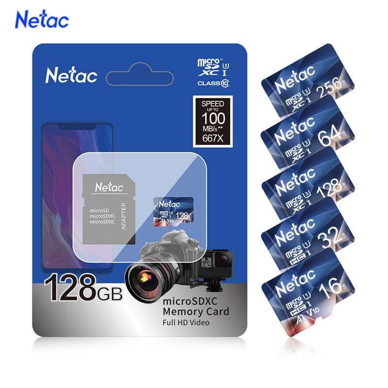 Netac P500 A1 Memory Card 32GB 16GB 64GB 128GB 100MB/S Micro SD Card Class10 UHS-1 SD Card 64GB Cards Hot Sale Free Shiping